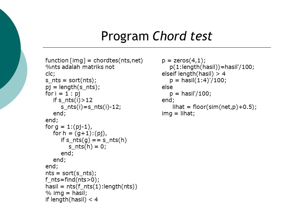 Program Chord test function [img] = chordtes(nts,net)